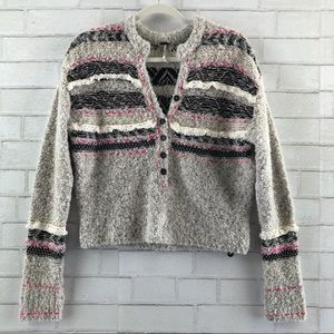 Free People Color Pop Sweater Henley XS